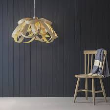 bloom wood veneer lampshade pendant light symetrical shape walnut