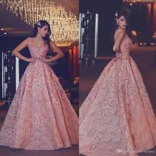 luxury rose gold long prom dresses 2017 fashion lace appliques