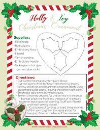 Felt Heart Christmas Ornaments Holly And Ivy Felt Christmas Ornament Pattern U2013 Meanwhile At The Castle