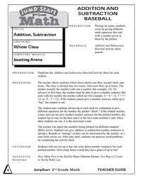 addition and subtraction baseball printable mental math