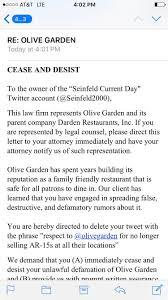 Olive Garden Rock Road Wichita Ks Olive Garden Threatens To Sue Satirical Twitterer For Tweet