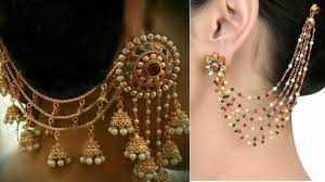 style of earrings gold plated earrings designs with chains bahubali style earring