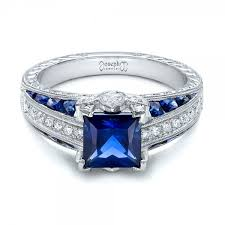 saphire rings custom blue sapphire and diamond engagement ring 102163