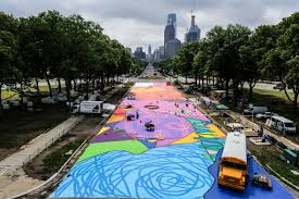 Mural Arts Philadelphia by Brad Carney Paints The Parkway With Mural Arts Streets Dept