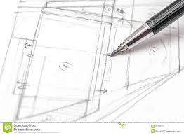 architect hand drawing house plan sketch stock photo image 50736331