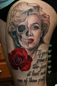 skull face marilyn monroe quote and nice rose tattoo