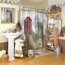 Country Bathroom Decor Outhouses Shower Curtain And Bath Accessory Set By Avanti