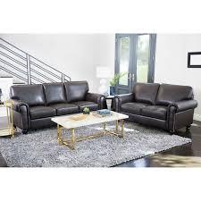 Top Grain Leather Living Room Set Abbyson Top Grain Leather 2 Living Room Set Free
