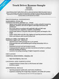 truck driver resume sample truck driver resume template truck driver resume sample resume