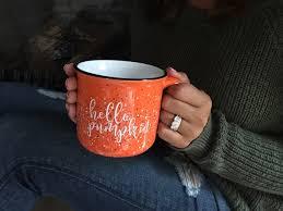 rustic coffee mugs hello pumpkin campfire mug pre fall sale 15 oz pumpkin