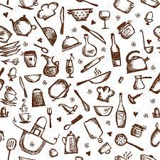 Kitchen Utensils Kitchen Utensils Sketch Seamless Pattern Royalty Free Cliparts