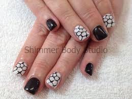 gel nails short square nails black and white nails konad