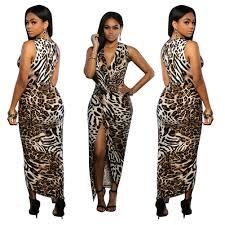 v neck leopard print evening maxi dresses clubwear for women