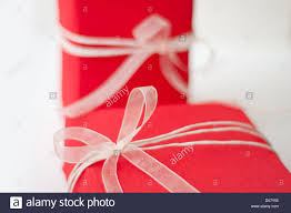bows for presents two presents box with bows on the birthday stock photo
