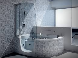 mosaic glass door small shower room with glass door plus white tub also black