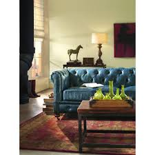 Home Decorators Colection Home Decorators Collection Gordon Blue Leather Sofa 0849400310