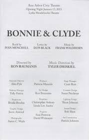 ann arbor civic theatre program bonnie u0026 clyde january 15 2015
