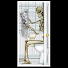 funny skeleton toilet potty bathroom door cover wall poster