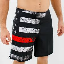 American Flag Swimming Trunks American Defender Shorts 2 0 Thin Red Line Firefighter Edition