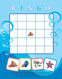 printable finding nemo themed baby shower bingo