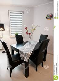 modern black and white dining room royalty free stock images black chairs clock dining flowers leather modern room sleek table walls white