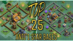 top best coc builder hall anti 1 star bases design layout coc