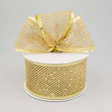 diamond mesh ribbon 2 5 diamond mesh glitter ribbon gold 10 yards rl183108
