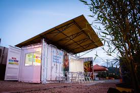 old shipping container recycled into solar powered learning lab in
