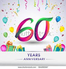 celebrating 60 years birthday celebrating 60th anniversary logo with gift box and balloons