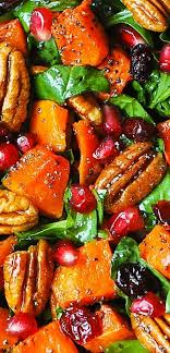 butternut squash spinach salad with pecans cranberries