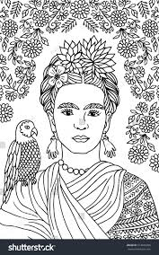 coloring pages diego rivera shocking hand drawn portrait of frida kahlo with floral background