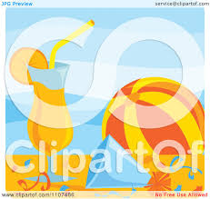 clipart orange cocktail beach ball party hat and confetti poolside