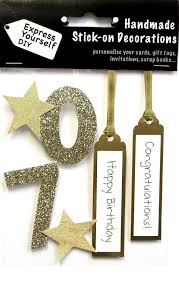 gold 70th birthday diy greeting card toppers birthday cards
