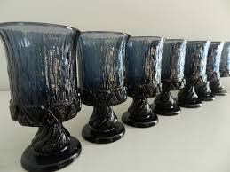 vintage water wine goblets glasses textured blue purple hannukah
