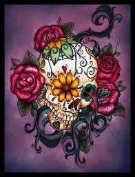 flowers sugar skull dia de los muertos design