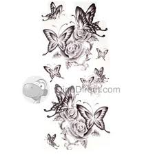 ouran rose butterfly shape waterproof temporary tattoo 5pcs