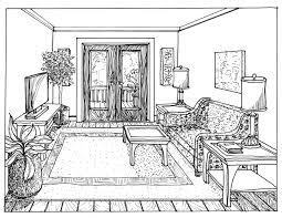 draw a room living room one point perspective room drawing living two interior