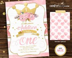 princess first birthday invitations pink and gold boho 1st