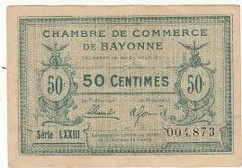 chambre des commerces bayonne 50 centimes 26 aout 1921 chambre de commerce bayonne 1917 vf