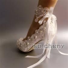 wedding shoes size 11 3 4 heel white ivory satin lace open toe ribbon ankle wedding