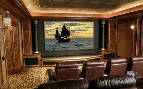 wonderful home theater decor with brown leather sofa and charming