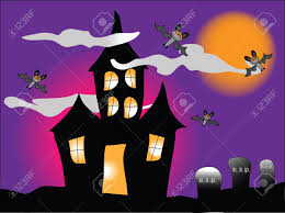 haunted houses clipart a haunted house with bats under a spooky orange sky stock photo