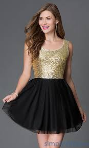 short sequined black and gold bee darlin dress gold cocktail