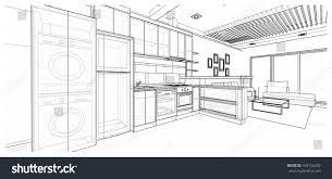 interior design modern style kitchen 3d stock illustration