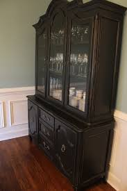 Vintage Cabinet Revamp by Vintage China Cabinet Painted In Black Latex And Distressed The