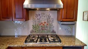 kitchen mural backsplash flowering herb garden decorative kitchen backsplash tile mural