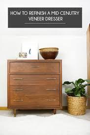 how to refinish wood veneer kitchen cabinets how to refinish a mid century veneer dresser brepurposed