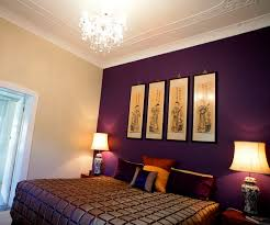 adorable bedroom color palettes ideas with purple wooden wall