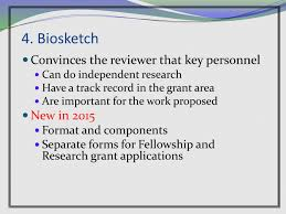 grantsmanship nih biosketch 2015 update cred library asha