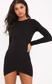 bodycon dresses idda black sleeve wrap skirt bodycon dress dresses